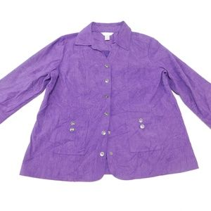 Christopher & Banks XL Purple Snap Blazer Microfib